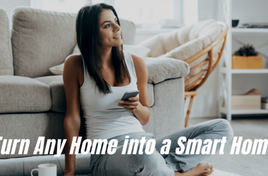 Young Brunette Woman Using her phone for smart home settings